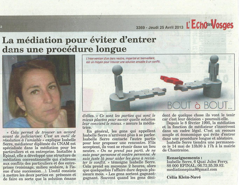 Article sur la mediation paru dans l'Echo des Vosges